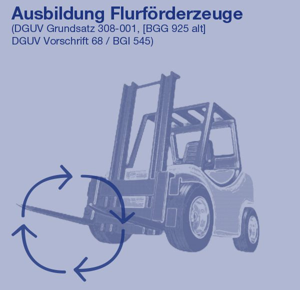 Ausbildung Flurförderzeuge (DGUV Grundsatz 308-001, [BGG 925 alt] DGUV Vorschrift 68 / BGI 545)